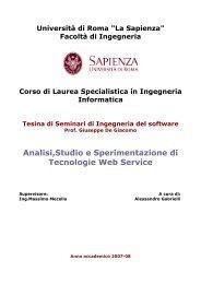 Analisi,Studio e Sperimentazione di Tecnologie Web Service