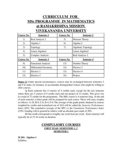 Syllabus - Ramakrishna Mission Vivekananda University