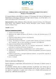 Verbale Direttivo SIPCO - SIPCO - Società Italiana di Psicologia di ...