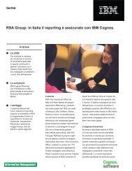 RSA Group: in Italia il reporting è assicurato con IBM Cognos