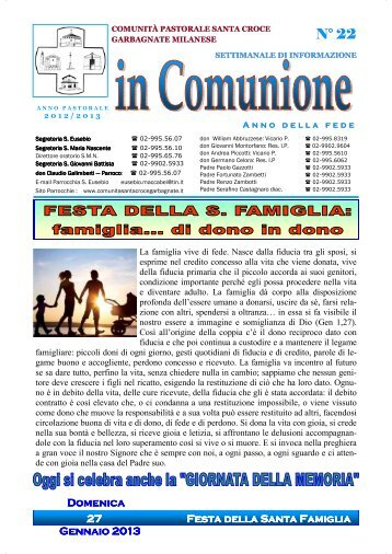 """""""In Comunione"""" n. 22 del 27 gennaio 2013 - Comunità Pastorale ..."""