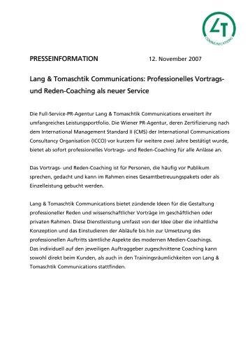Erfolgreiche Zertifizierung nach CMS II - Lang & Tomaschtik ...