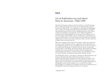 List of Publications by and about Peter D. Eisenman, 1960-1999