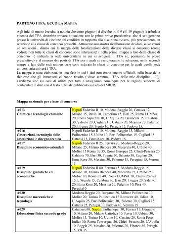 MAPPA TFA (per classe di concorso) - AetnaNet
