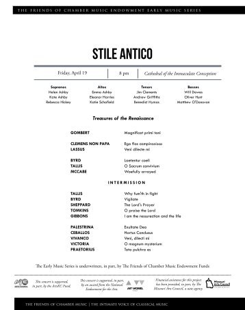Stile Antico - The Friends of Chamber Music