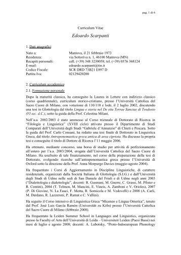 Curriculum vitae di Edoardo Scarpanti - Universitas Studiorum