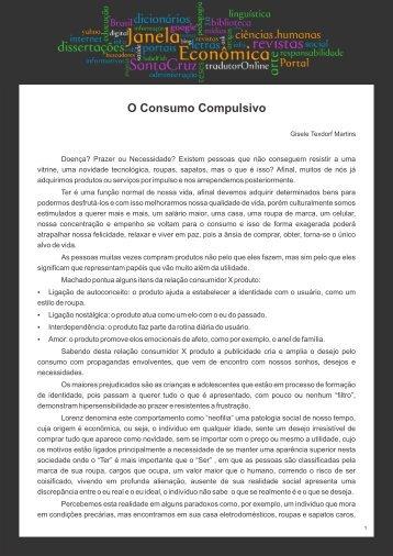 O Consumo Compulsivo - Faculdades Santa Cruz