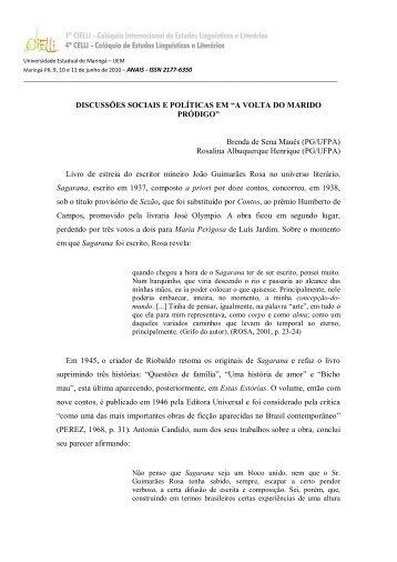 """DISCUSSÕES SOCIAIS E POLÍTICAS EM """"A VOLTA DO ... - Cielli"""