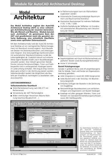 Architektur und Bauwesen Module für AutoCAD Architectural Desktop