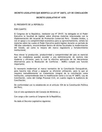 DECRETO LEGISLATIVO QUE MODIFICA LA LEY Nº ... - Justicia Viva