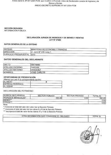 Anexo del DS N° 047—2004—PCM, que modificó of Formato Unico ...