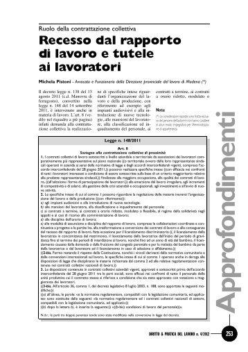 Recesso dal rapporto di lavoro e tutele ai lavoratori - DPL Modena
