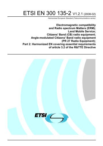 EN 300 135-2 - V1.2.1 - Electromagnetic compatibility and ... - ETSI