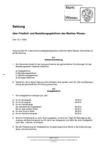 Friedhof- und Bestattungsgebührensatzung (v. 01.01 ... - Markt Wiesau