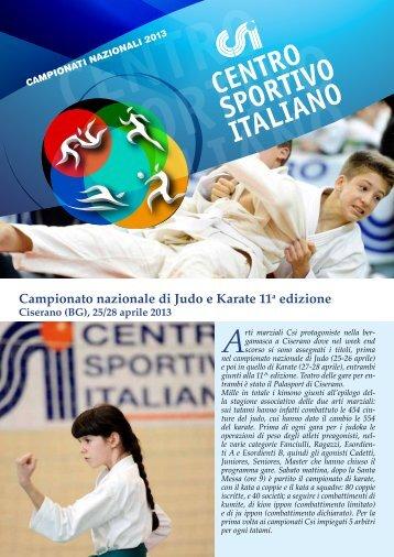 newsletter 11° campionato nazionale di judo e karate - CSI Bologna