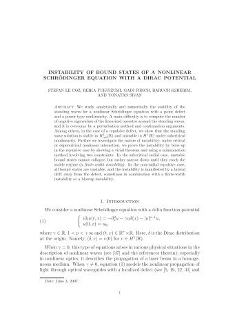 Instability of bound states of a nonlinear Schrödinger equation with a ...