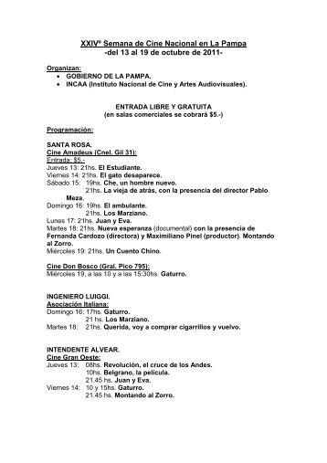 XXIVº Semana de Cine Nacional en La Pampa -del 13 al 19 de ...