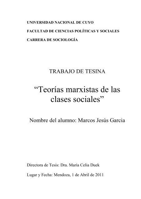 Teorias Marxistas De Las Clases Sociales Facultad De