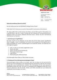 Datenschutzerklärung (Stand Juni 2012) Herzlich ... - Wiesenhof