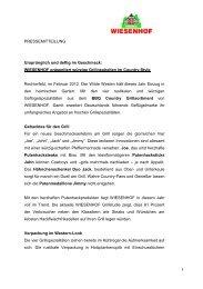 WIESENHOF präsentiert würzige Grillneuheiten im Country-Style ...