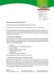 Datenschutzerklärung - Wiesenhof