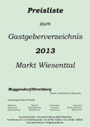 Preisliste Gastgeberverzeichnis 2013 Markt Wiesenttal