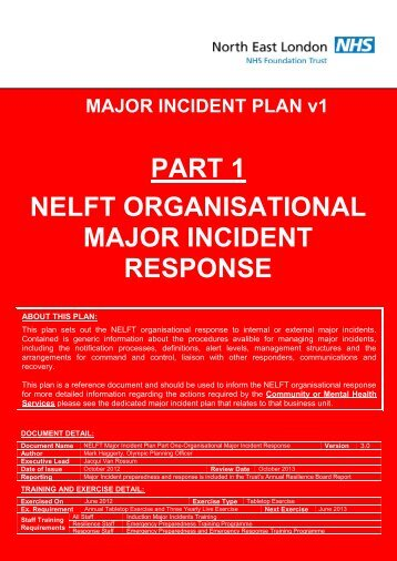 Major incident response - North East London NHS Foundation Trust
