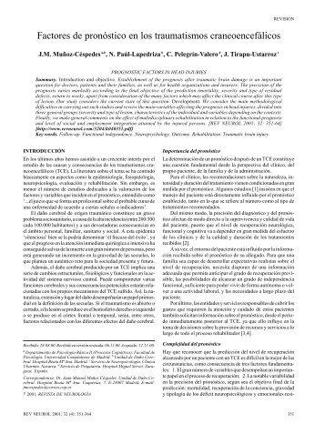 Factores de pronóstico en los traumatismos craneoencefálicos