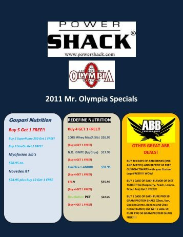 2011 Mr. Olympia Specials Gaspari Nutrition Buy 5 ... - Power Shack