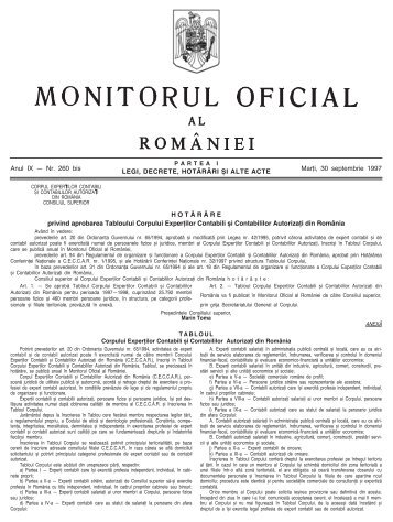 LEGI, DECRETE, HOT√R¬RI ™I ALTE ACTE Anul IX – Nr. 260 bis ...