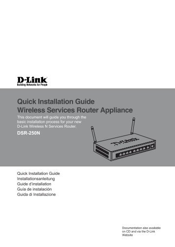 Quick Installation Guide Wireless Services Router Appliance - D-Link