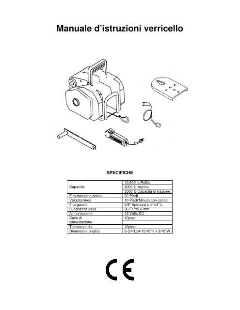 Manuale d'istruzioni verricello - GiordanoShop