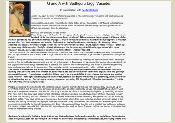 Q & A with Sadhguru Jaggi Vasudev - Isha Foundation