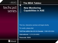 The MDA Tables: New Monitoring Capabilities in ASE - Sybase
