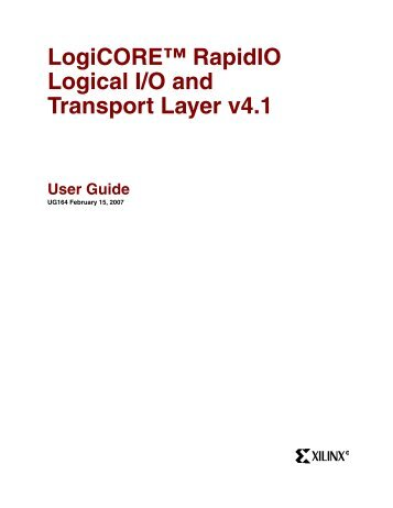 RapidIO Logical (I/O) and Transport Layer Interface User Guide