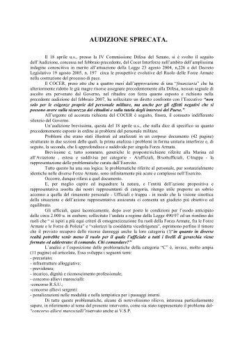 AUDIZIONE DEL COCER PRESSO LA IV COMMISSIONE DIFESA