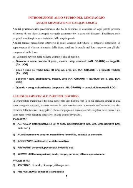 Analisi Grammaticale Logica E Del Periodo