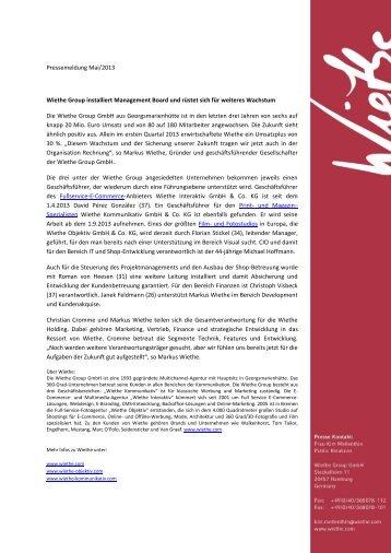 Pressemeldung Mai/2013 Wiethe Group installiert Management ...