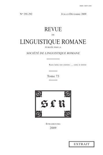 LINGUISTIQUE ROMANE - Carsten Sinner