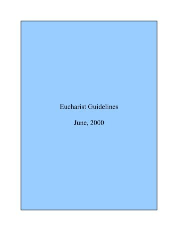 Eucharist Guidelines - Diocese of Altoona-Johnstown