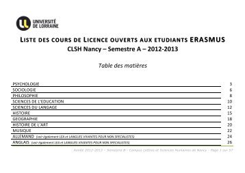 Catalogue ERASMUS semestre A_2012-13 - Campus Lettres et ...