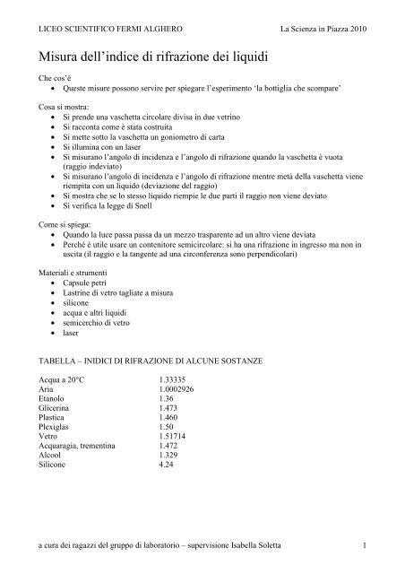 Indice Di Rifrazione Vetro.Misura Dell Indice Di Rifrazione Dei Liquidi 10