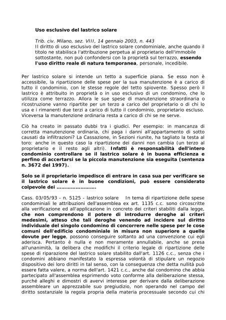 Uso Esclusivo Del Lastrico Solare Trib Civ Milano Sez