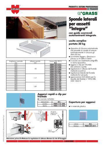 """Sponde laterali per cassetti """"Integra"""" - Würth Italia"""