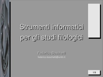Strumenti informatici per gli studi filologici - DISI
