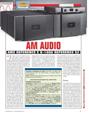 AMX REFERENCE E B-1000 REFERENCE S2 - AM Audio