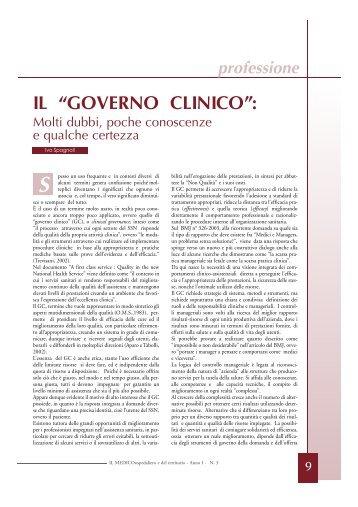 """IL """"GOVERNO CLINICO"""": - CIMO ASMD"""