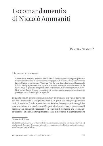 I «comandamenti» di Niccolò Ammaniti - OpenstarTs
