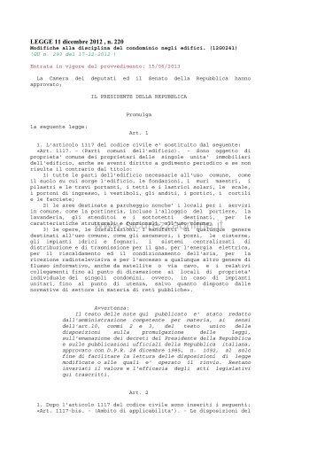 Legge 11/12/2012, n. 220 - Sicurezzaonline.it