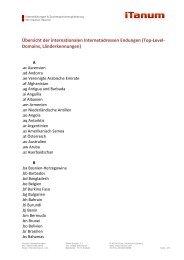 Übersicht der internationalen Internetadressen Endungen ... - iTanum